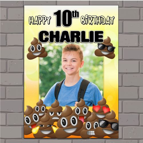 Personalised EMOJI POO Happy Birthday Party PHOTO Banner Poster N164
